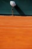 在网球场的专业话筒 免版税库存照片