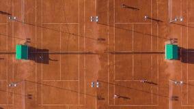 在网球比赛的空中英尺长度的下上面 Gyperlapse,4K 股票录像