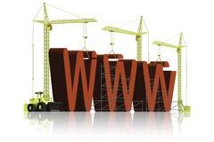 在网站万维网之下的楼房建筑 免版税图库摄影