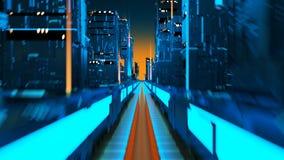 在网络空间的未来真正大都会空中飞行技术城市 向量例证