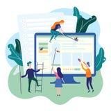 在网页的人传染性的臭虫 IT软件应用测试、质量管理、QA队和臭虫定象概念 向量 向量例证
