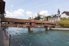 在罗伊斯统治者列表河的Spreuer桥梁 库存图片