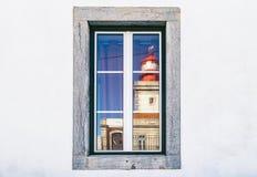 在罗卡角,葡萄牙,大陆多数西部海角的灯塔  图库摄影