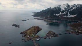 在罗弗敦群岛海岛在挪威,普遍的旅游目的地上的鸟瞰图 ?? 股票录像