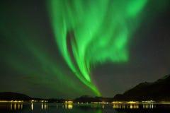 在罗弗敦群岛海岛,雷讷挪威上的极光Borealis 在山上的绿色北极光 与极性天空的夜空 免版税库存照片