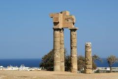 在罗得岛上城的阿波罗寺庙  免版税库存图片