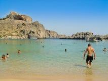 在罗得岛希腊海岛上的Lindos  库存照片