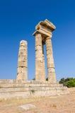 在罗得岛的古老阿波罗寺庙废墟 库存照片