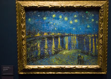 在罗讷的繁星之夜梵高 免版税图库摄影