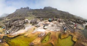 在罗赖马山,委内瑞拉上面的自然极可意浴缸  免版税图库摄影