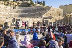 在罗马剧院的节日在阿曼的约旦首都 免版税库存图片