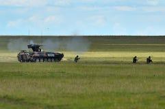在罗马尼亚军事多角形的MLI 84 Jder战斗的机器 库存照片