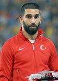 在罗马尼亚土耳其世界杯预选赛比赛的Arda Turan 库存照片