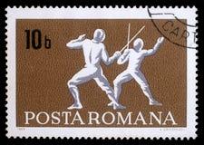 在罗马尼亚展示操刀打印的邮票 免版税库存照片