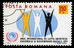 在罗马尼亚打印的邮票显示国际年反对种族主义 图库摄影