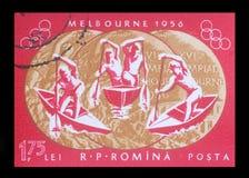 在罗马尼亚打印的邮票,展示1956个夏季奥运会 库存照片
