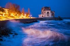 在罗马尼亚黑海海岸射击的夜 免版税库存照片