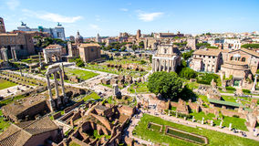 在罗马广场的全景,罗马,意大利 免版税库存照片