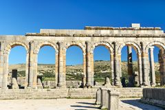 在罗马废墟的大教堂,古老罗马市Volubilis 摩洛哥 免版税图库摄影
