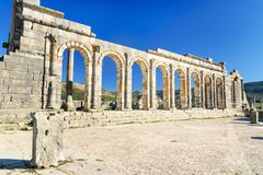在罗马废墟的大教堂,古老罗马市Volubilis 摩洛哥 图库摄影
