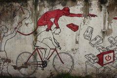在罗马的墙壁上的街道画 图库摄影