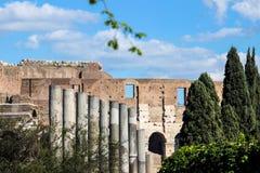 在罗马论坛的老废墟 免版税库存图片