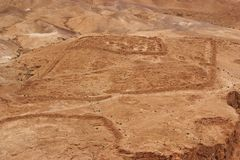 在罗马附近的古老阵营挖掘堡垒masada 免版税库存照片