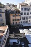 在罗马-园地de Fiori的开放的市场从上面 图库摄影