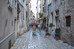 在罗维尼,克罗地亚街道上的游人  罗维尼,克罗地亚- 7月 库存图片