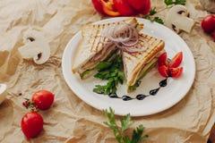 在羊皮纸背景的三明治与菜构成 库存照片