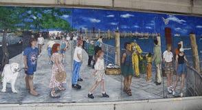 在羊头布鲁克林的海湾部分的墙壁上的艺术 库存照片