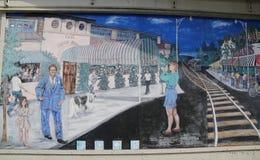 在羊头布鲁克林的海湾部分的墙壁上的艺术 免版税库存照片