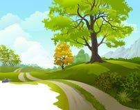 在美丽的乡下附近的风景乘驾 免版税库存图片