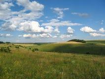 在美丽的云彩中的夏天农村风景 免版税库存照片