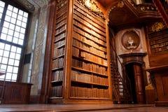 在美丽的图书馆里面的老书架 免版税库存照片