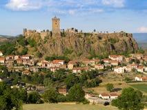 在美丽的设防法语城镇之上 图库摄影