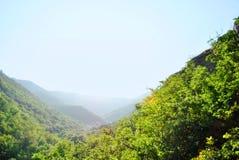 在美丽的雾山的庄严看法在薄雾风景 剧烈的异常的场面 背景更多我的投资组合旅行 探索的秀丽世界 汽车 免版税库存图片