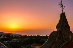 在美丽的索伦托,意大利的惊人的日落 图库摄影