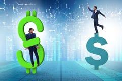 在美元和债务概念的商人 库存例证