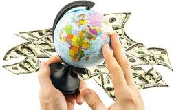 在美元背景的政治地球  免版税库存图片
