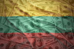 在美元金钱背景的五颜六色的挥动的立陶宛旗子 免版税图库摄影