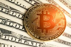 在美元钞票的金黄Bitcoin隐藏货币硬币与 库存图片