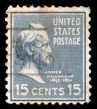 在美利坚合众国打印的邮票显示詹姆斯・布坎南 库存照片