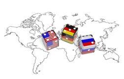 在美国、德国和俄罗斯之间的交涉 免版税库存图片