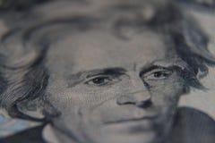 在美国二十美金的杰克逊的面朝上的关闭 图库摄影