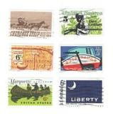 在美国伊利运河展示船尾打印的安排使用的邮票,堪萨斯、大卫・克洛科特和丹尼尔・布恩车落基印第安人的小条  库存照片