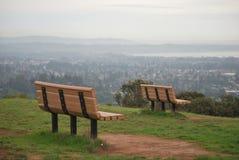 在美国加利福尼亚大学圣克鲁斯小山,圣克鲁斯,美国的两条长凳 免版税库存图片