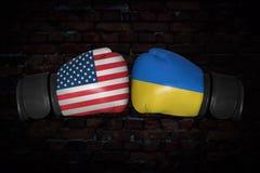 在美国和乌克兰之间的一场拳击赛 库存例证