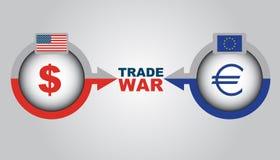 在美国和欧罗巴之间的商业战争的经济冲突 向量例证