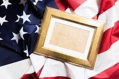 在美国国旗背景影像的框架 免版税库存照片